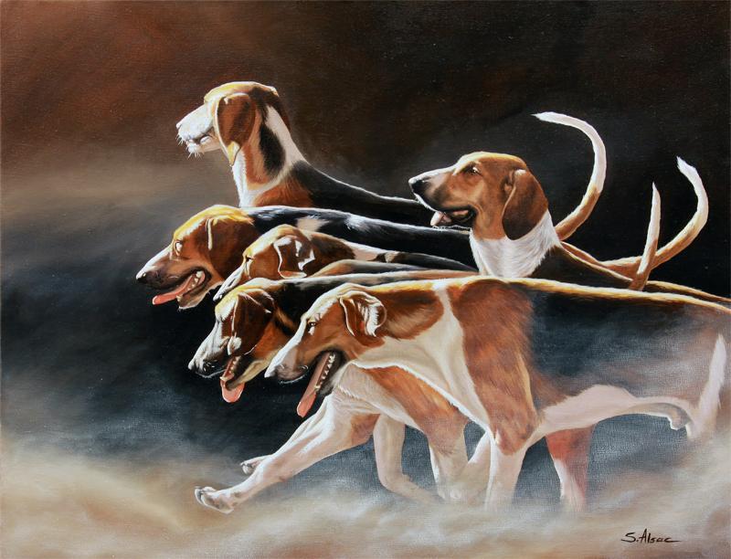 peinture de Chiens Poitevins