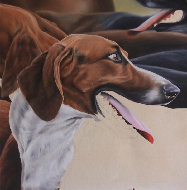 peinture chien courant - travail sur le fond flouté