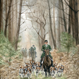 foxhound dogs and horse