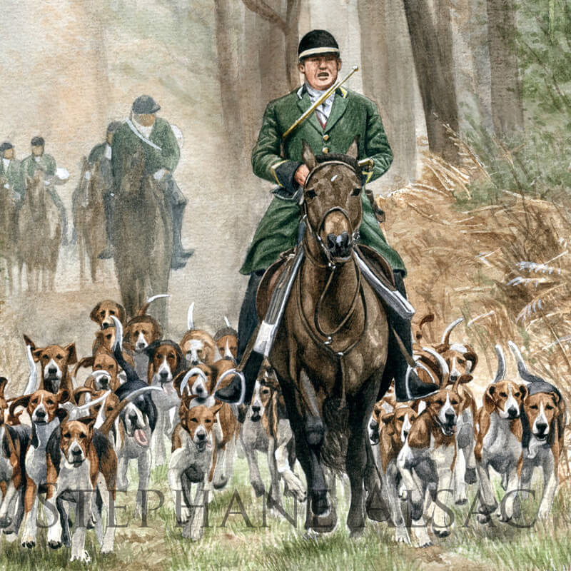 foxhound horse painting