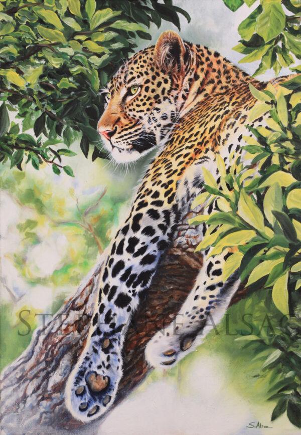 peinture leopard arbre