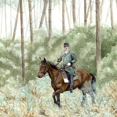 watercolor painting hunting scene