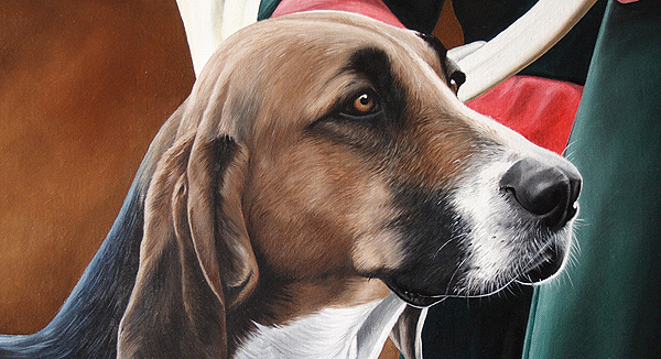 fox hound painting portrait