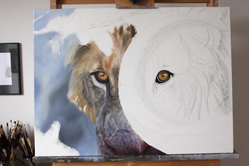 portrait-lion-peinture-etape