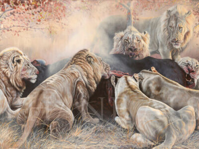 royal-feast-peinture-lions-mangeant-buffle