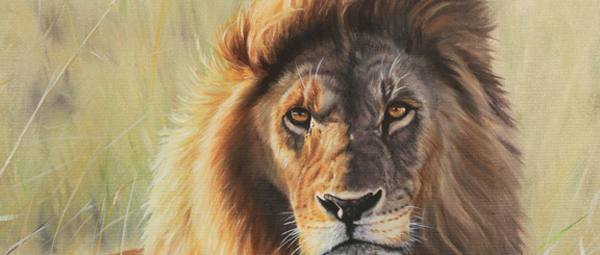 lion painting detail fur