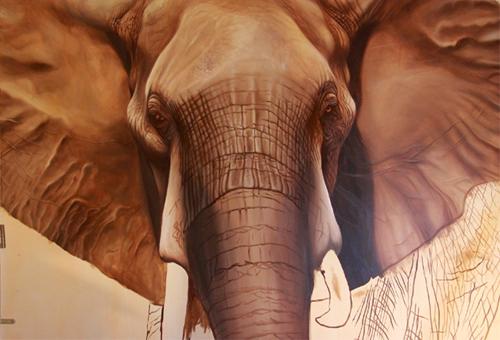 peinture éléphant taille réelle