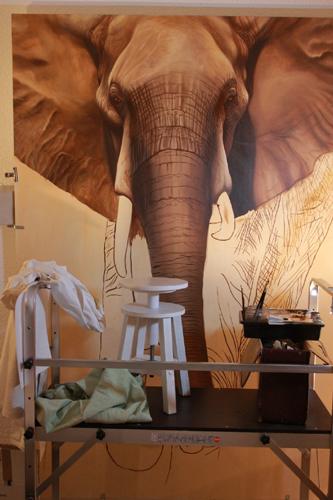 peinture à l'huile grande taille éléphant