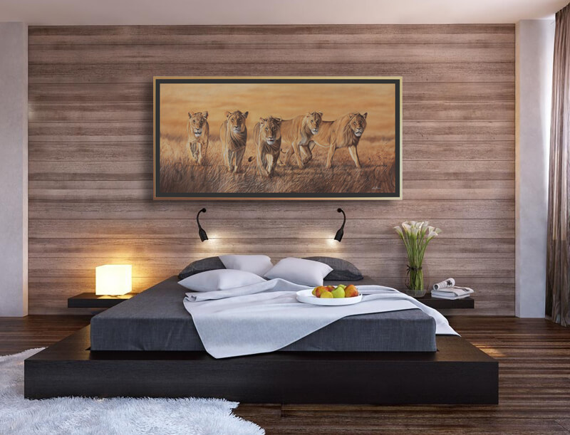 the wild bunch peinture lions cadre deco chambre st phane alsac. Black Bedroom Furniture Sets. Home Design Ideas