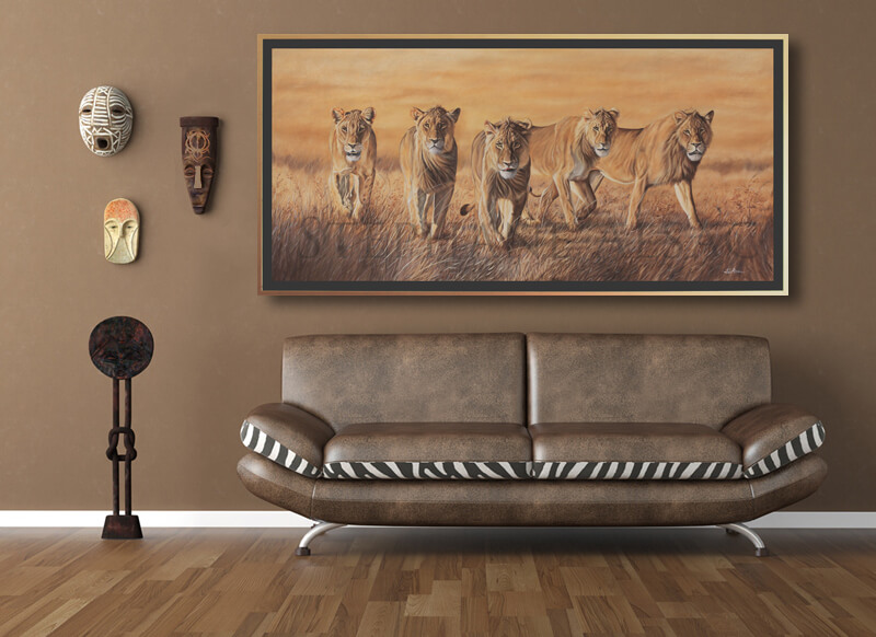 the wild bunch peinture lions cadre deco salon st phane alsac. Black Bedroom Furniture Sets. Home Design Ideas