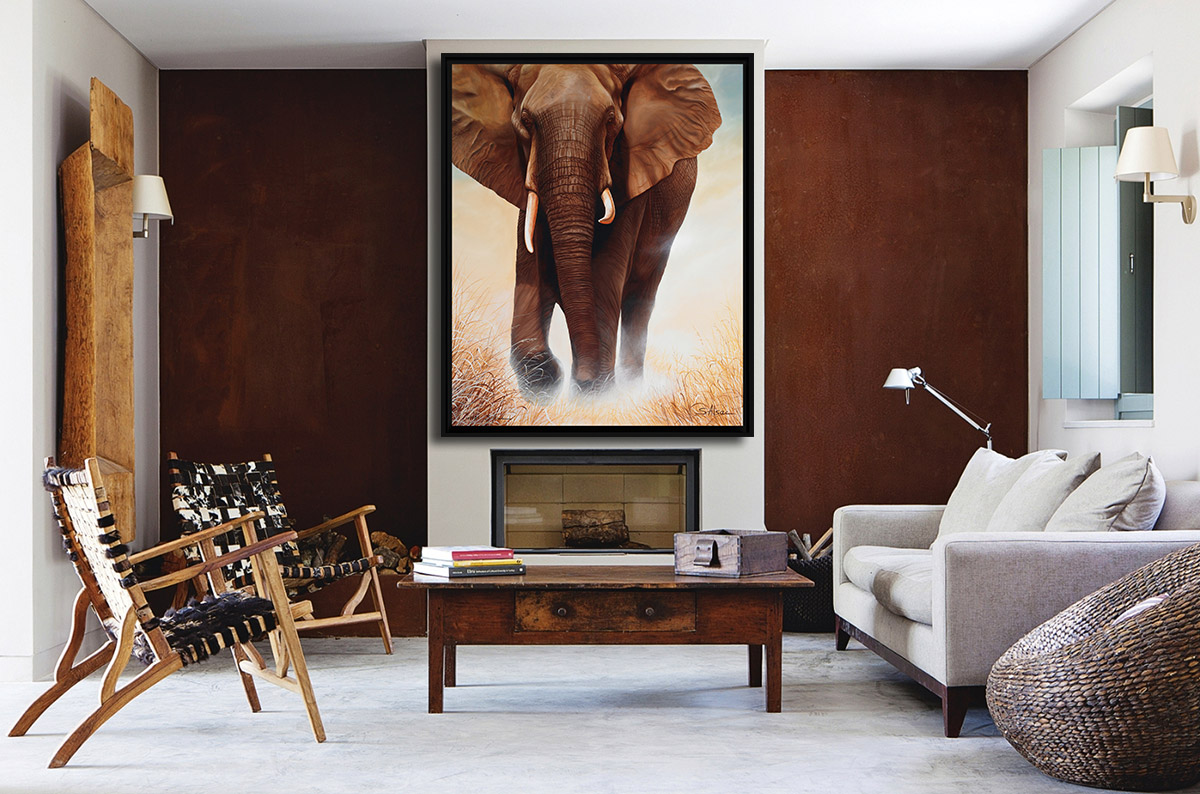 fashionable-decorating-african-living-room-painting-elephant