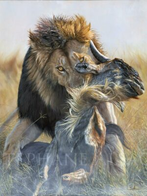 hyper-realistic-large-painting-lion-kill-wildebeest-lifesize