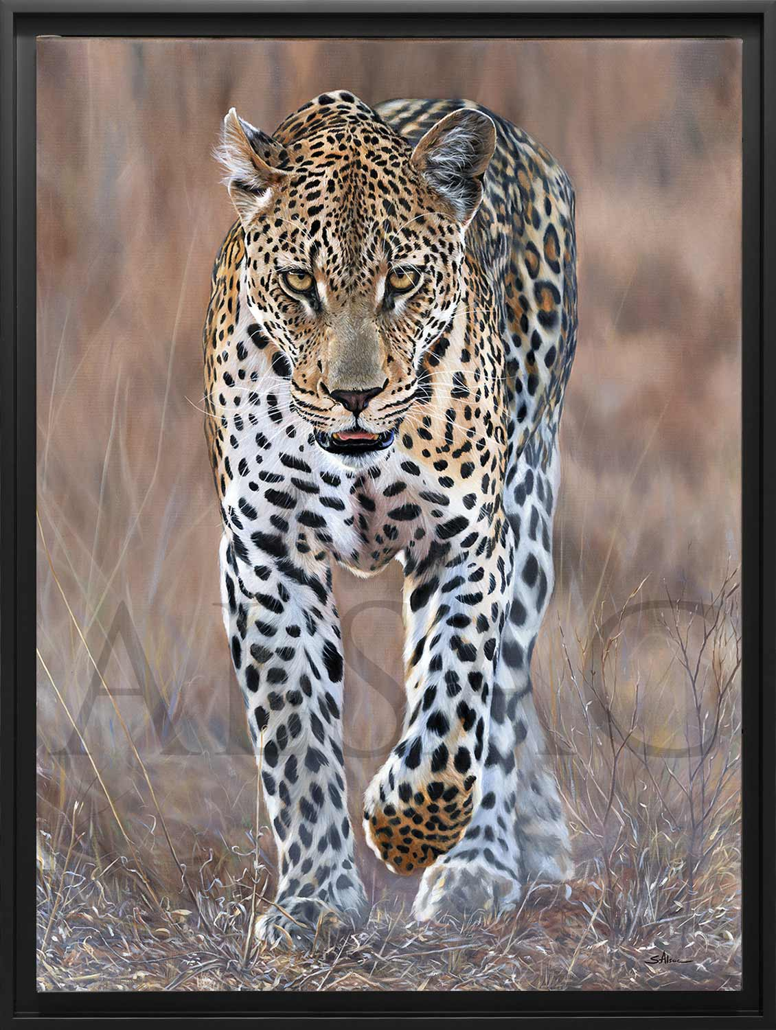 The Chaser Realistic Painting Of A Leopard By Stephan Alsac