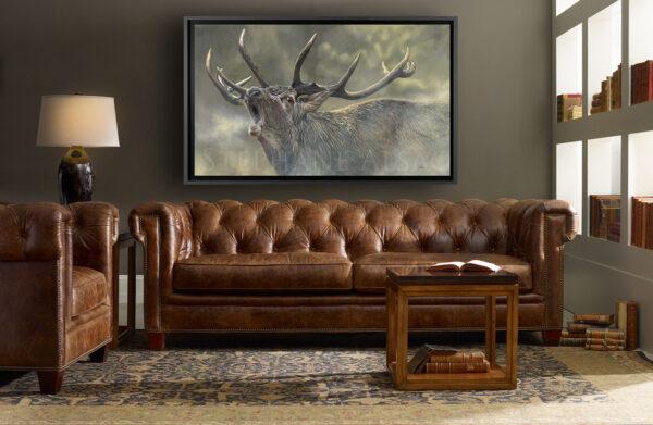 wildlife paintingof a deer in a living room