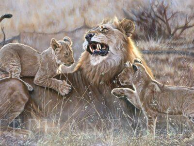 Famille-lion-peinture-art-animalier