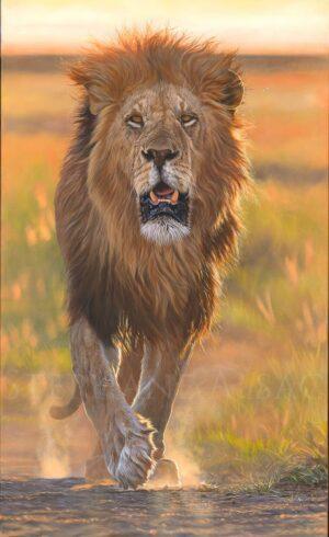 peinture-huile-realiste-roi-lion-artiste-animaux-afrique