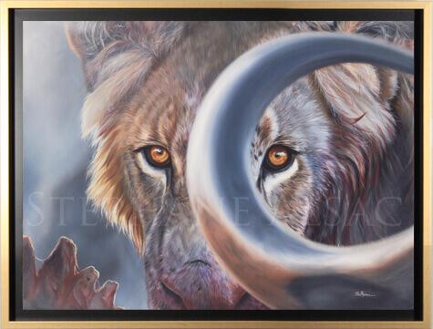 peinture-portrait-lion-yeux-buffle