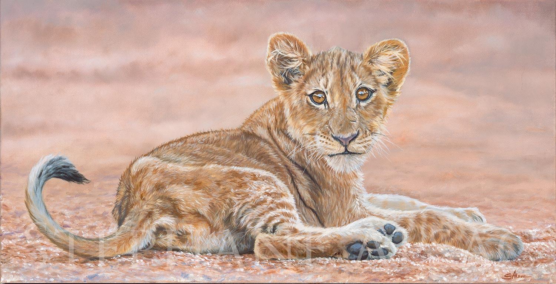 "The Little Shop Peinture the little prince"" - realistic painting of a lion cub"