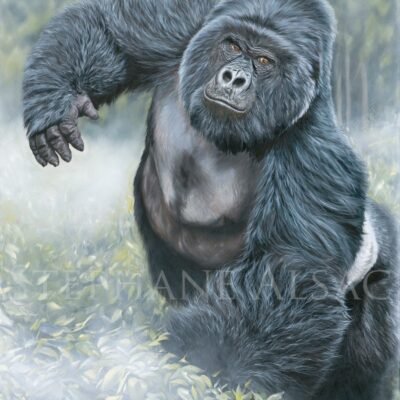 painting-gorilla-silver-back-wildlife-art